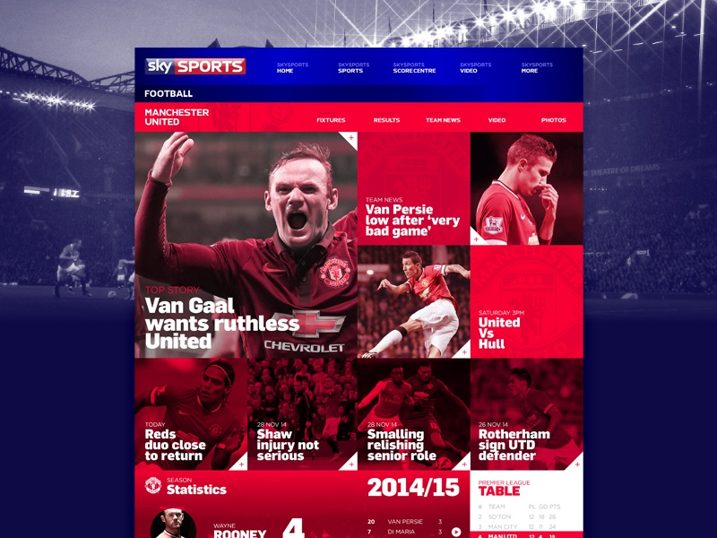 Sky Sports // UI Concept grid web ui ux sports football mobile responsive layout clean red website