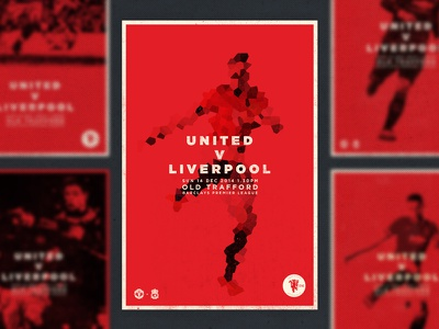 MATCHDAY! poster united football red print manchester united player texture art abstract type soccer