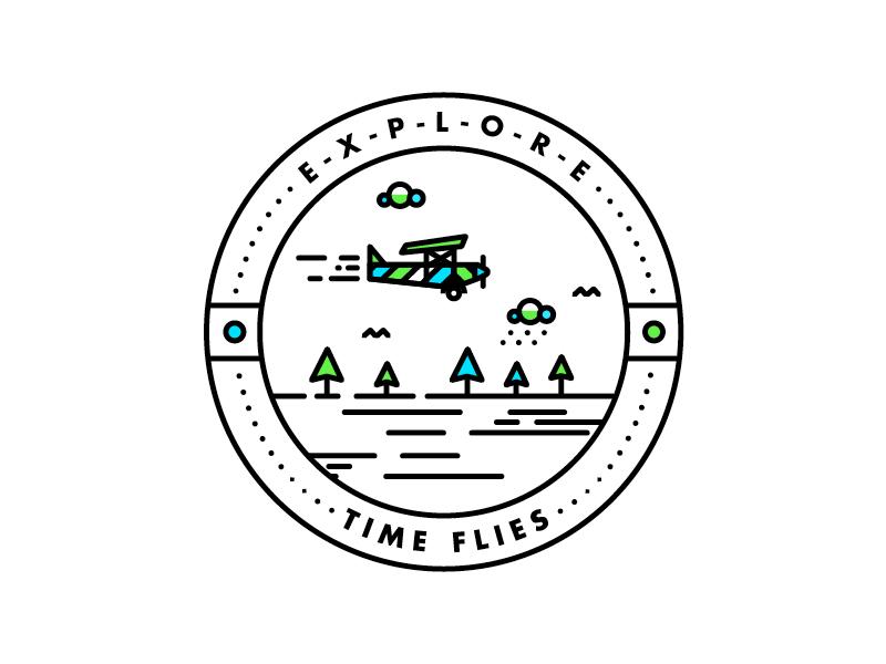 TIME FLIES logo type tree illustration plane badge texture line detail icon