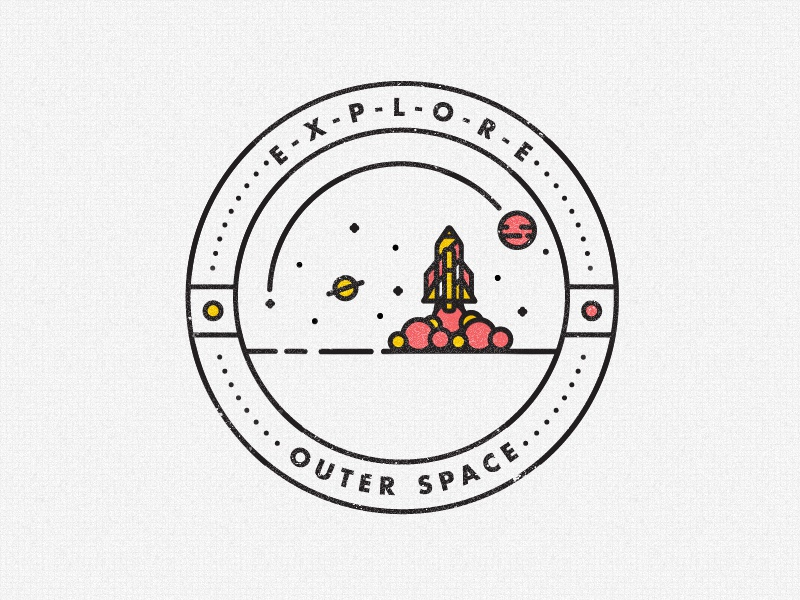 Outer space badge by studio jq dribbble for Outer space industrial design