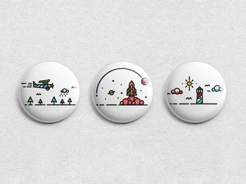E-X-P-L-O-R-E Pin Badges 2 color detail line texture badge plane illustration tree type logo icons icon