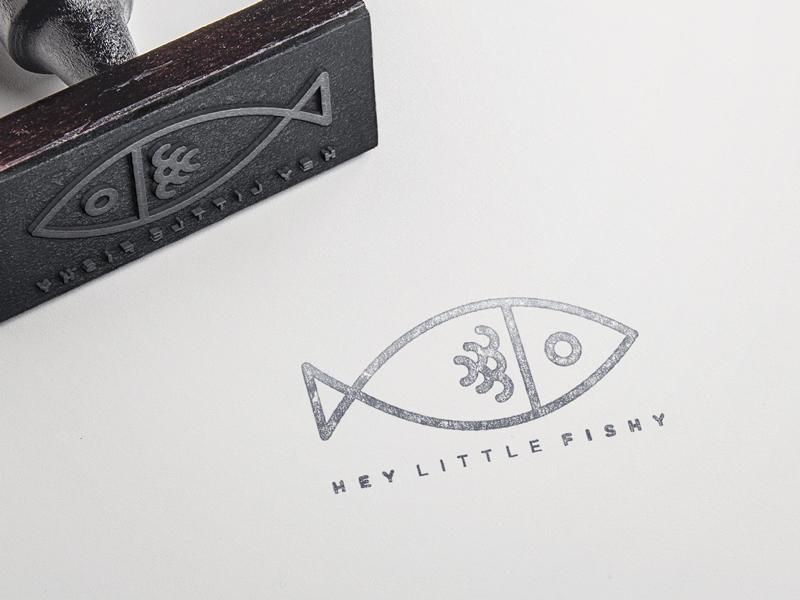 Hey Little Fishy type clean stroke texture branding brand illustrator illustration identity food logo stamp