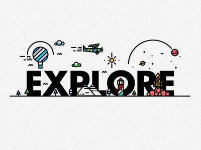 E-X-P-L-O-R-E rocket detail line texture fish submarine illustration balloon type logo plane web