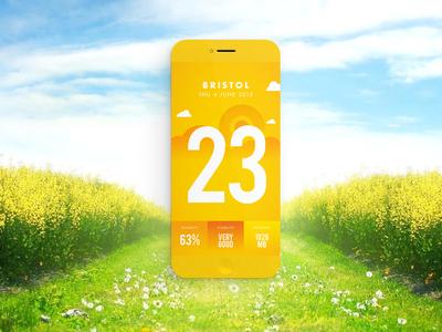 Come Rain Come Shine // Weather App illustration clean yellow mobile ui bristol sunny sun weather app
