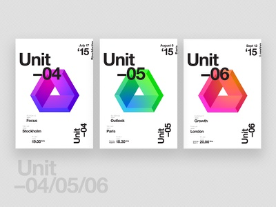 U N I T // Event Posters campaign events poster logo logomark color gradient vibrant identity brand branding abstract