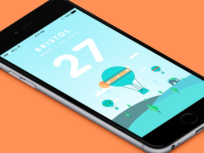 Summer's Here // Weather App app weather sun sunny bristol ui mobile yellow clean illustration