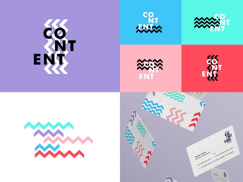 Content Branding logo logomark color vibrant identity brand branding abstract gradient colour