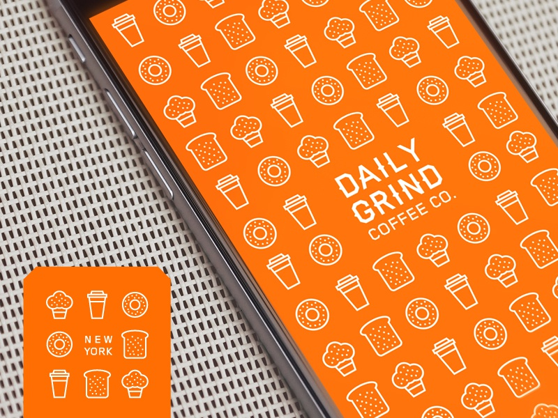 Daily Grind Coffee Co. new york cafe illustration line linework coffee shape brand branding orange app icon