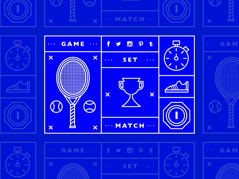 Game, Set, Match. social sport tennis icons icon infographic info graphic line stroke blue concept