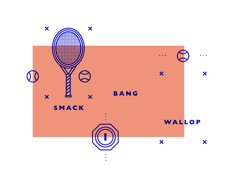 Smack Bang Wallop concept blue stroke line info graphic infographic icon icons tennis sport social