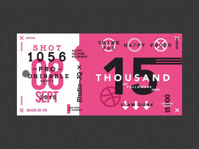 15 Thousand icons thanks thankyou basketball pink ticket shots dribbble