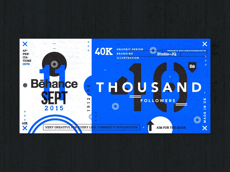 40 Thousand followers shots ticket blue behance thankyou thanks icons