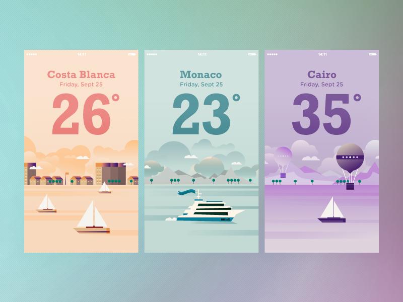 Weather App dashboard color illustration vector app weather