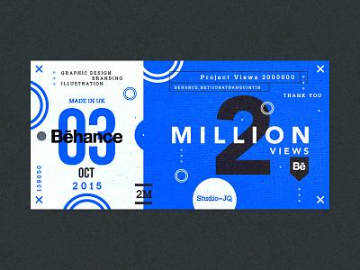 2 Million icons thanks thankyou behance blue ticket shots followers