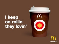 I keep on rolling they lovin' concept stroke mcdonalds illustration branding linework cup brand fastfood food