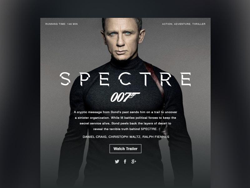 Movie Dashboard // Spectre layout web design ux ui widget dashboard space movie bond spectre silver