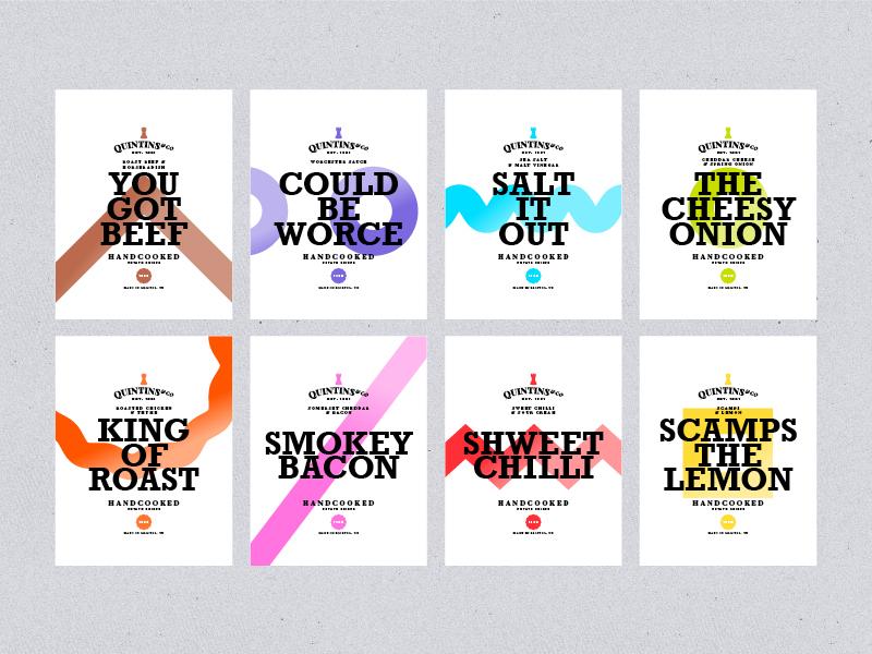 Quintins & Co. Handcooked Crisps color collection flat design crisps packaging branding