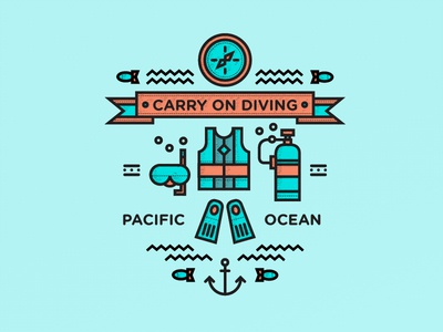 Carry on Diving diving icons vector fun illustration outdoors adventure