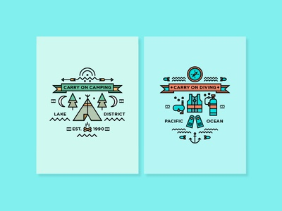 Carry on... adventure outdoors illustration fun vector icons diving