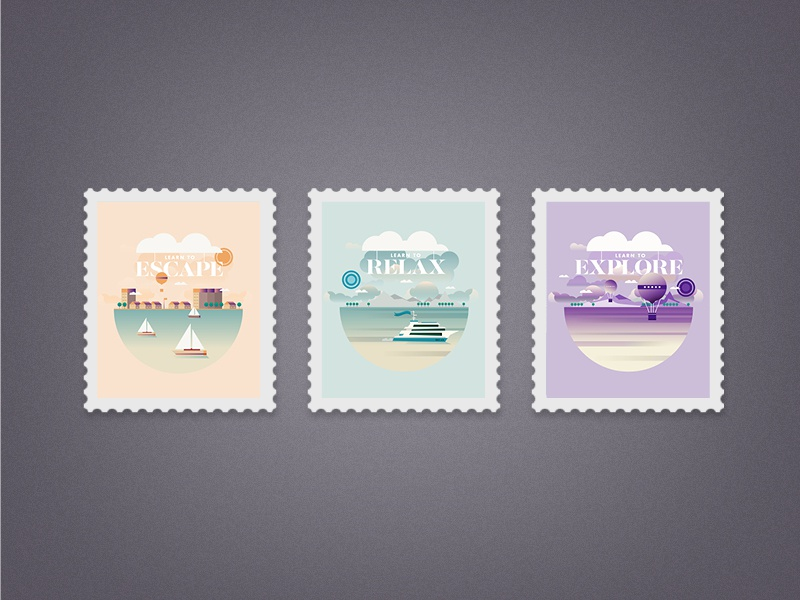 Escape, Relax and Explore stamps vector illustration color