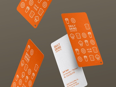 Daily Grind Coffee Co. Business cards business cards businesscards new york orange icongraphy icons logomark branding coffee logo