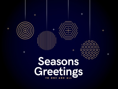 Seasons Greetings - To one and all thankyou christmas xmas vector stroke line pattern type gold