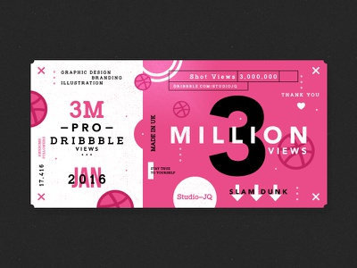 3 Million freelance uk studio dribbble shots ticket pink basketball thankyou thanks icons