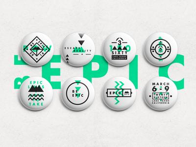 >>> BE EPIC <<< Badges epic badges pattern mono shapes symbols graphic stroke type snowboard