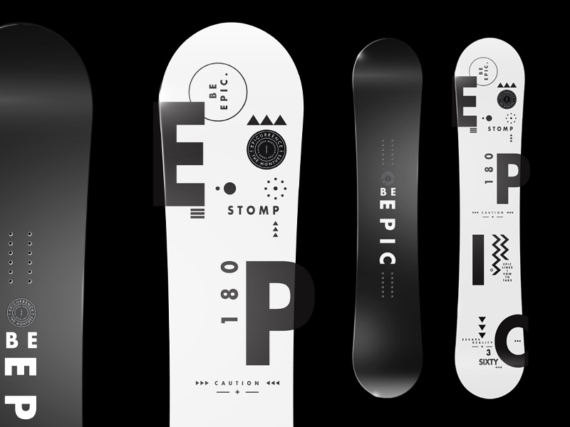 Epicurrence Snowboard - Be Epic. snowboard type stroke graphic symbols shapes mono pattern badges epic