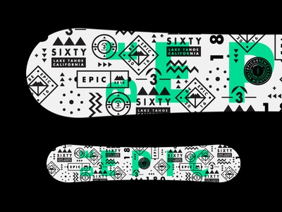 Close but no cigar epic badges pattern mono shapes symbols graphic stroke type snowboard