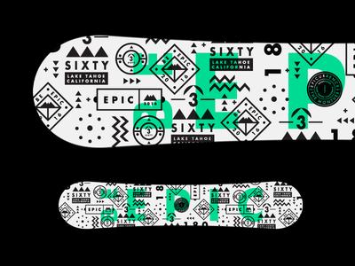 Close but no cigar epic badges pattern mono shapes symbols graphic stroke type snowboard