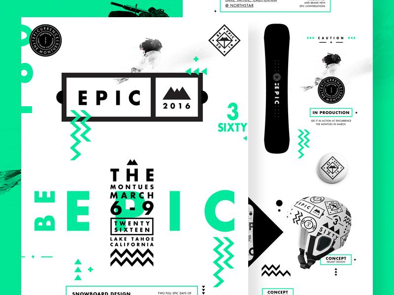 Be Epic. Presentation Deck usa helmet epic badges ui mono shapes symbols graphic stroke type snowboard