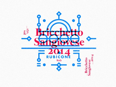 Bricchetto Sangiovese multiply packaging 2016 illustration layout stroke type label wine