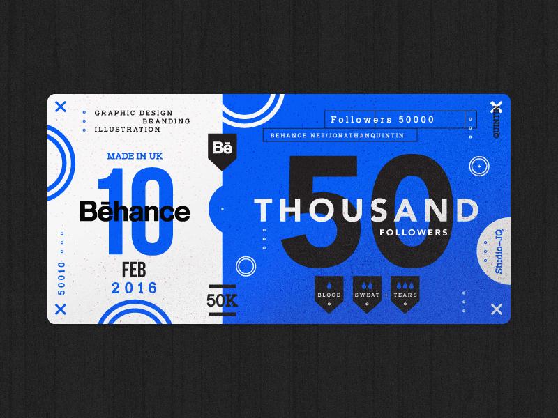 50 Thousand followers shots ticket blue behance thankyou thanks icons