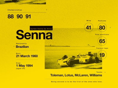 Senna. A legend. My Hero. texture layout motorsport stats yellow infographic senna