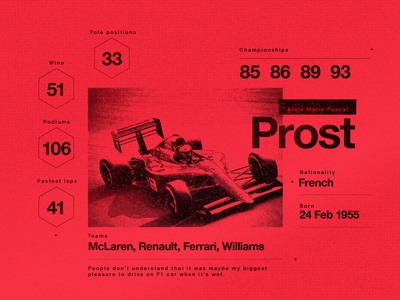 Prost. formula1 f1 prost infographic red stats motorsport layout texture