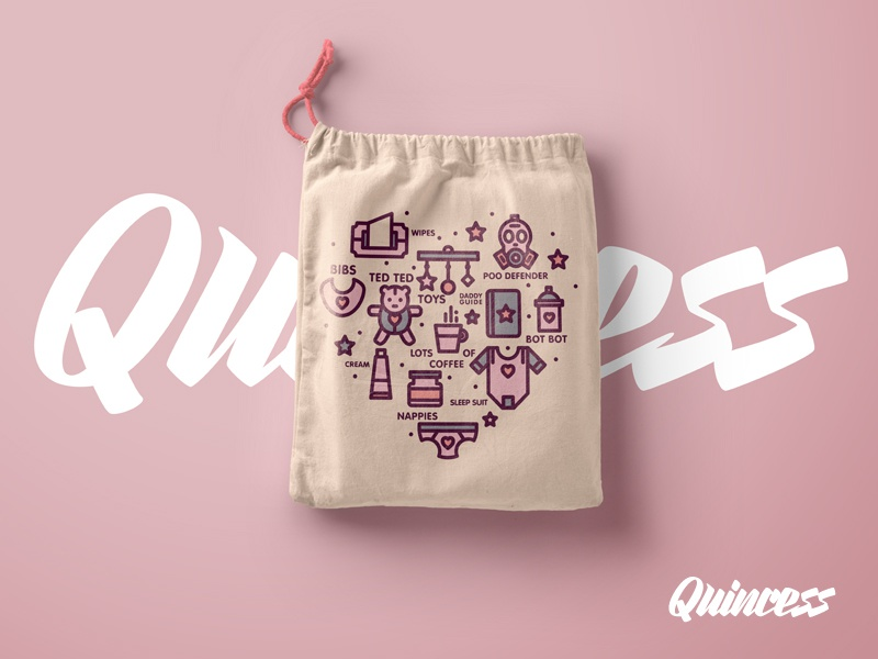 Quincess Drawstring Bag logo branding colour stroke line font type pink illustration baby icons icon