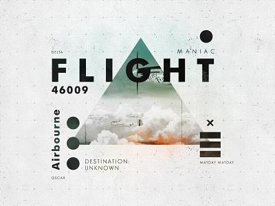 Flight 46009 aviation typography vintage symbol texture type layout flight plane