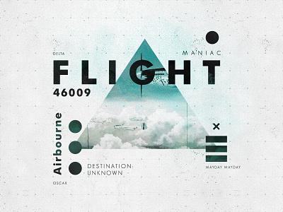 Flight 46009 (Blue) plane flight layout type texture symbol vintage typography aviation