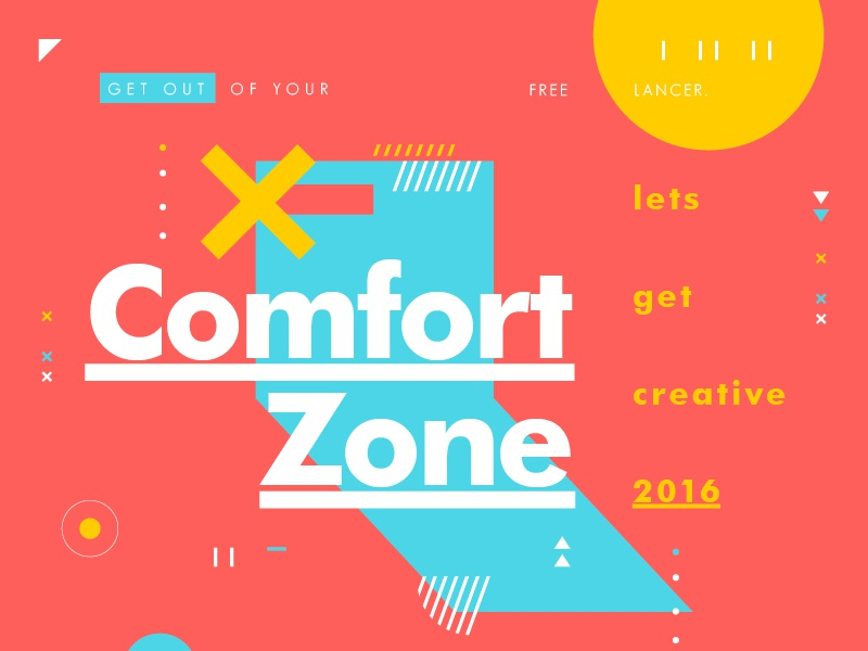Comfort Zone color layout type texture symbol creative typography design freelance