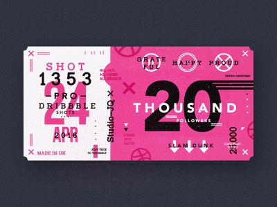 20K icons thanks thankyou basketball pink ticket shots dribbble studio uk freelance