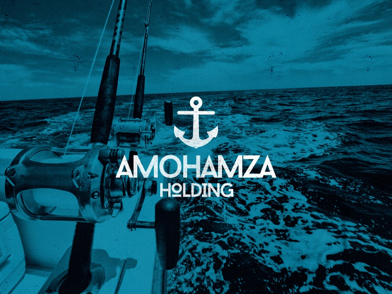 Amohamza texture food restaurant fish type logo illustration branding
