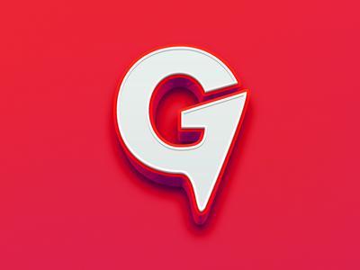 ∆ G MARK ∆ 3d concept brand red logomark branding logo g