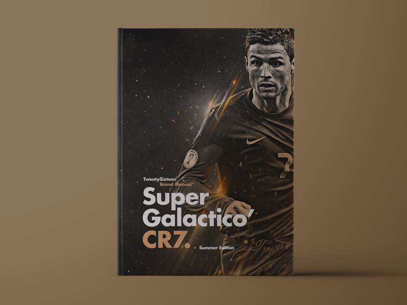 Super Galactico' CR7. logo identity player type layout cover soccer branding football ronaldo gold brand manual