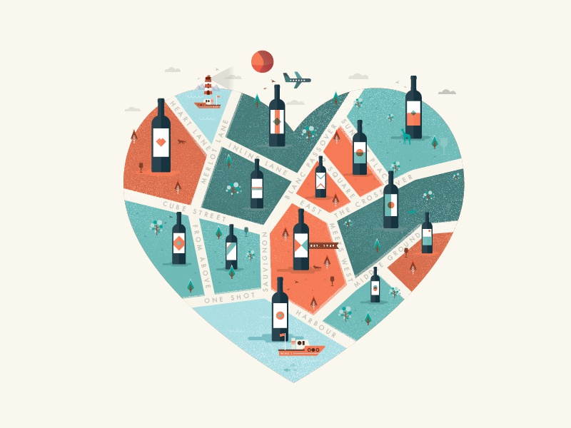 Wine City BABY! heart friday love bottle vector illustration wine