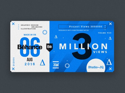 ∆ 3 Million. Thank You ∆ freelance uk studio type shots ticket blue behance thankyou thanks icons
