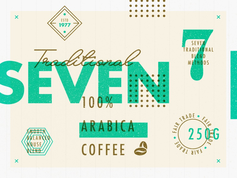 ∆ Traditional SEVEN ∆ layout logo branding texture gold green packaging type coffee
