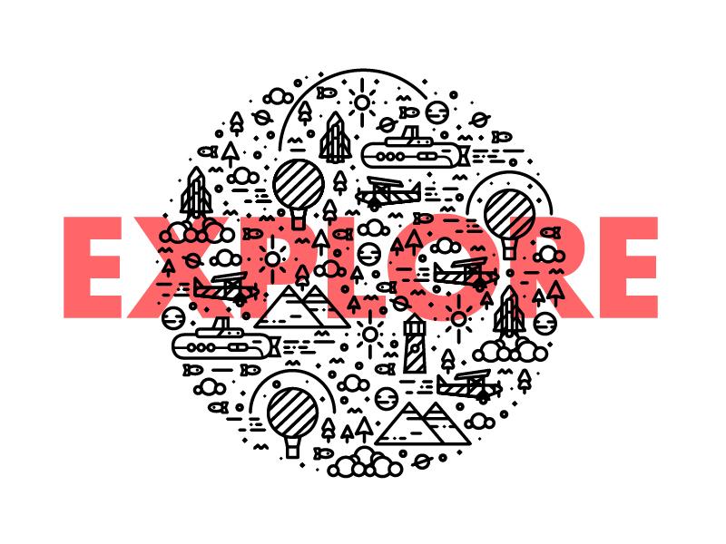 E-X-P-L-O-R-E in style :p clothng t-shirt plane logo type balloon illustration line pattern brand branding