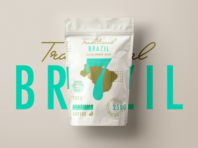 ∆ Traditional 7 Coffee | Brazil ∆ coffee type packaging brazil gold texture branding logo layout