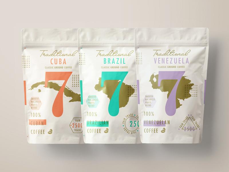∆ Traditional 7 Coffee ∆ logomark brand layout logo branding texture packaging type coffee